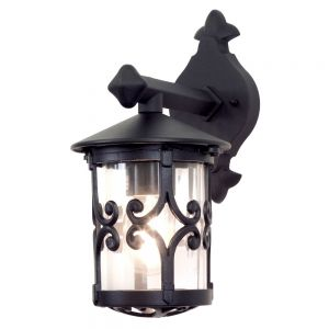 Traditional Black Scrolled Iron Exterior Hanging Wall Lantern