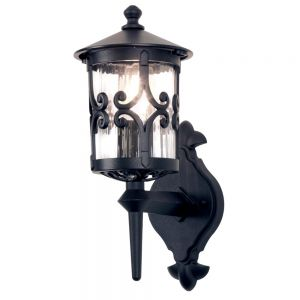 Traditional Black Scrolled Iron Exterior Up Facing Wall Lantern