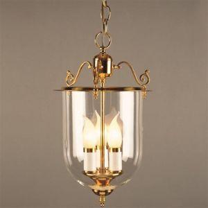 Solid Brass 3 Light Well Glass Lantern