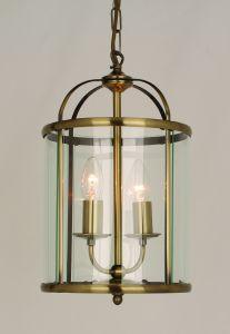 Orly 2 Light Hanging Ceiling Lantern Antique Brass