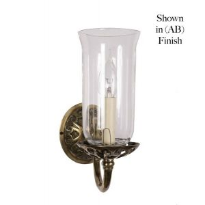 Empire Solid Polished  Brass 1 Light Wall Light With Glass