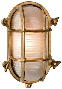 Outdoor Oval Wall Light In Solid Brass