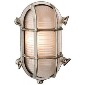 Outdoor Oval Wall Light in Nickel