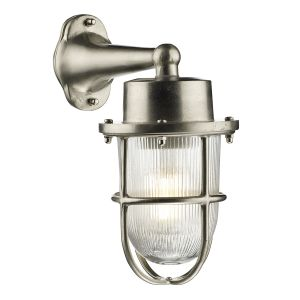 Lymington Outdoor Wall Light In Nickel With Glass Shade And Nickel Cage