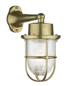 Lymington Outdoor Wall Light In Brass With Glass Shade And Brass Cage