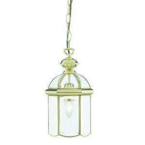 Chester 1 Light Ceiling Pendant Lantern Light In Polished Brass