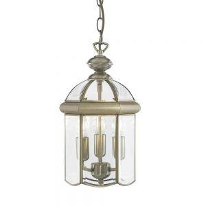 Chester 3 Light Ceiling Pendant Lantern Light In Antique Brass