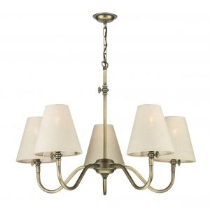 Elegant 5 Light Ceiling Pendant Light In Antique Brass With Linen Shades