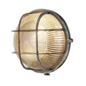 Lymington Antique Brass Outdoor Wall Light IP64