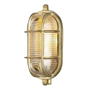 Lymington Brass Small Oval Outdoor Wall Light IP64