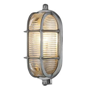 Lymington Nickel Small Oval Outdoor Wall Light IP64