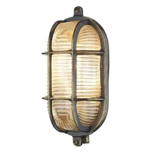 Lymington Antique Brass Oval Outdoor Wall Light IP64