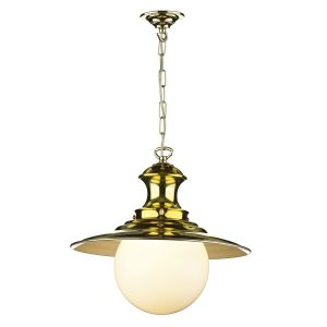 Traditional Polished Brass Station Lamp Ceiling Pendant Light