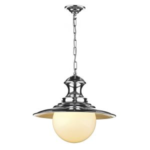 Traditional Polished Chrome Station Lamp Ceiling Pendant Light