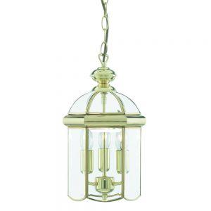 Chester 3 Light Ceiling Pendant Lantern Light In Polished Brass