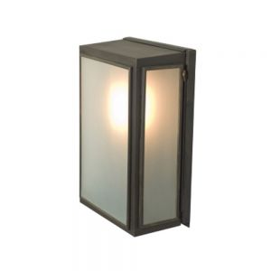 Externally Glazed Box Wall Light In Aged Brass With Frosted Glass - Small - Height: 295mm