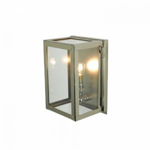 Internally Glazed Box Wall Light In Polished Nickel With Clear Glass - Miniature - Height: 195mm