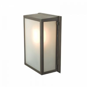 Internally Glazed Box Wall Light In Aged Brass With Frosted Glass - Small- Height: 295mm
