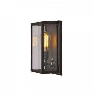 Internally Glazed Box Wall Light In Aged Brass With Clear Glass - Small- Height: 295mm