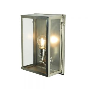 Internally Glazed Box Wall Light In Satin Nickel With Clear Glass - Small- Height: 295mm