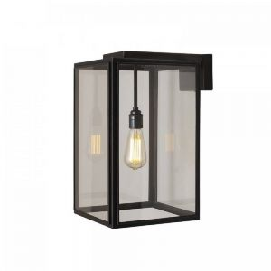 Portico 1 Light Wall Light In Aged Brass With Clear Glass - Small - Height: 370mm