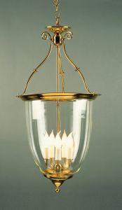 Solid Brass 5 Light Well Glass Lantern