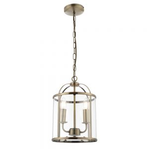 Tate 2 light Hanging Hall Ceiling Lantern in Antique Brass