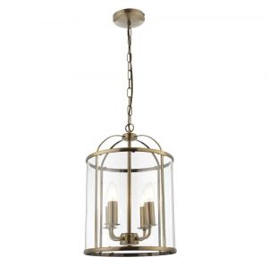 Tate 4 light Hanging Hall Ceiling Lantern in Antique Brass