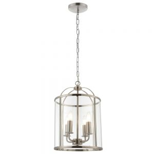 Tate 4 light Hanging Hall Ceiling Lantern in Satin Nickel