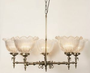 Solid brass five light pendant with glass shades