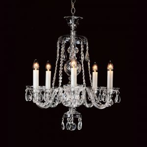 Georgian Lead Crystal Chandelier 5 Light