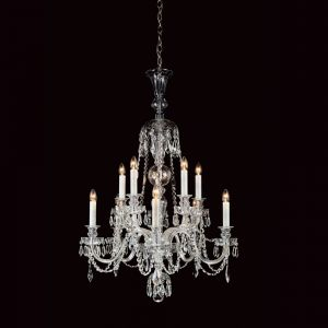 Large 10 Light Georgian Crystal Chandelier