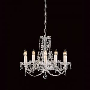 Georgian 5 Light Lead Crystal Traditional Chandelier