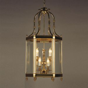 Giant Solid Brass Georgian 6 Sided Panel Lantern | Brass