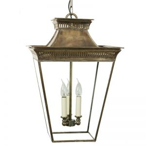 Pagoda Large Solid Brass Hanging Lantern