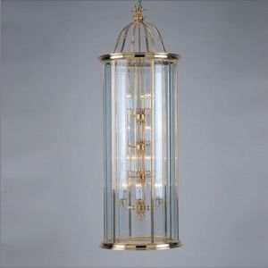 Large 18 Light Solid Brass Hanging Hall Lantern with Glass Panels