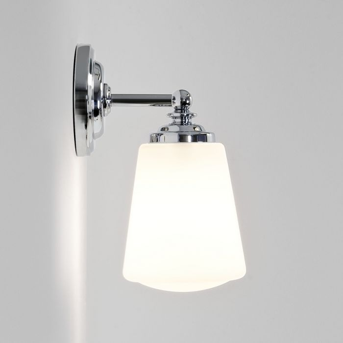 Anton Polished Chrome Ip44 Bathroom Wall Light With Opal Glass Shade
